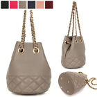 CLASSIC UNDER QUILTED DRAWSTRING CHAIN SHOULDER CROSS BAG REAL COWHIDE LEATHER