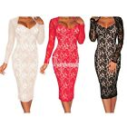 Hot Sexy Lace Long Sleeves Knee-Length Padded Evening Formal Party Dress OBS