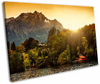 Switzerland Mountain Lake Sunset Landscape Framed Canvas Wall Art Picture Print