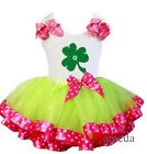 Pink Green Satin Trimmed Tutu St. Patricks Day Shamrock Tee Outfit Party Dress
