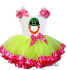 Pink Green Satin Trimmed Tutu St. Patricks Day Leprechaun Outfit Party Dress