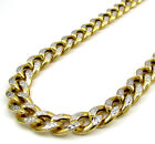 "30-36"" 8mm 10k Yellow Real Gold Hollow Diamond Cut Miami Cuban Chain Mens"
