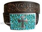 Nocona Western Womens Belt Leather Brown Turquoise Cross Buckle N3423002