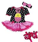 Baby Easter 1st Birthday Bling Chick Pink Polka Dots Bodysuit Tutu Shoes Romper