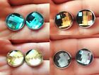 14mm Faceted Glass Earrings Studs Crystal Earrings Jewellery Handmade Gift