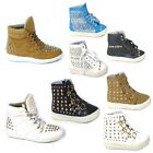 WOMENS LADIES FLAT LACE UP HIGH TOP ANKLE TRAINERS SNEAKERS BOOTS SIZE