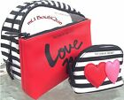 1 VICTORIA SECRET BLACK PINK LACE RED WHITE STRIPED TRAVEL TRIO BAGS YOU CHOOSE