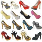 LADIES DIAMANTE COURT SHOES WOMENS DRESSY PEEP TOE HEELS WEDDING BRIDAL SIZE 3-8