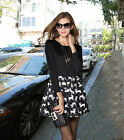 European Fashion Spring Cute Cat Floral Print Womens Long Sleeve Black Dress