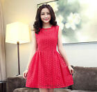 Womens Summer Spring Lace Embroidery Slim Sleeveless Elegant Pretty Red Dress