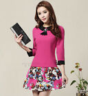 Womens Sweet Preppy Style Hit Color 3/4 Sleeve Slim Spring Autumn Floral Dress