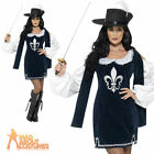 Ladies Musketeer Costume Female Fancy Dress Medieval Outfit + Hat New UK 4-18