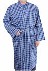Mens Lightweight Polyester Cotton Dressing Gown Robe Blue Big Size 2XL - 8XL