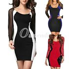 2015 sexy Hourglass Mesh Long Sleeves Bodycon Dress short dress