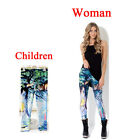 Alice in wonderland Print Leggings Kids + Adult Pants Parent-child outfit girls