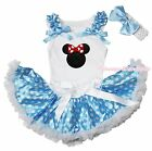 Easter Red Minnie Print White Top Blue Polka Dot Newborn Baby Pettiskirt 3-12M