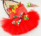 Red Chinese Folk Bow Wedding Party Tutu Dress Small Dog Clothes Costume 5 size