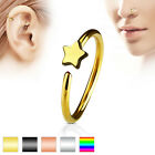 Titanium IP Star Nose Hoop Ring Bar 20ga (0.8mm)