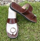 100% MOROCCAN LEATHER  TOE POST SANDALS BROWN *