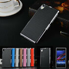 New Luxury Carbon Fiber Chromed Hard Back Case Cover Skin For Sony Xperia Phone
