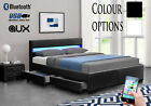 Bluetooth Music Bed Frame Storage Led Faux Leather- Single Double King Size