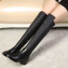 NEW Gorgeous Womens Black Cow Leather Heels Boots Sz 2.5-11(N118896)