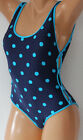 *NEW DKNY Currant Blue Dots Dot Time 1piece Swimsuit Cutout Maillot size 8 10 12