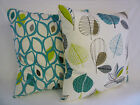 "Teal Cushion Cover Big 22"" Funky Retro Designer fabrics  Hand Crafted"