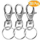 38mm Silver Tone Lobster Trigger Swivel Clasps Split Keyring Hook Key Fob Ring