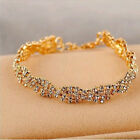 Fashion Women Rhinestone Crystal Chain Silver/Gold Plated Bracelet Bangle Gift
