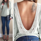 Pop Women's Backless Long Sleeve Shirt Casual Blouse Tops Shirt Clothing Perfect