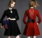 Spring Autumn European Elegant Womens Lace Hollow Bow 3/4 Sleeve Slim Mini Dress