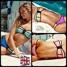 UK Sexy Womens Bandage Zip Bikini Set Padded Swimsuit Swimwear Bandeau Patchwork