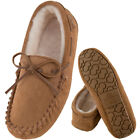 Ladies Genuine Sheepskin Moccasin Slippers with Hard Wearing Sole, Sizes 3-8