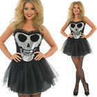 Deluxe Ladies Sparkly Skeleton Tutu Halloween Fancy Dress Costume
