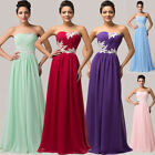 2015 Bead Long Formal Evening Bridesmaid Prom Graduation Gown Dresses Plus Size