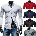 Men's Solid Slim Cotton Long Sleeved Casual Shirt Color Blocking Custom Fit Nice