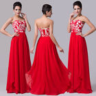 Applique Corset Long Evening Gown Red Wedding Party Prom Dresses Cocktail Formal