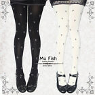 80D Punk Goth Lolita Cross Embroidery Velvet Tights Pantyhose Cute Black&White