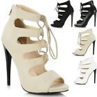 Ladies Cut Out Lace Up Zip High Heel Strappy Gladiator Sandals Shoes Ankle Boot