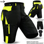 Mens Cycling MTB Shorts Cycle Off Road Coolmax Padded Liner Shorts Hi-Viz Green