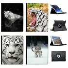 White Tigers Folio Cover Leather Case For Apple iPad Tablet