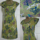 NEW EX WHITE STUFF 'KNOWLEDGE' SUMMER TUNIC TEA DRESS TREE PRINT GREEN BLUE 8-18