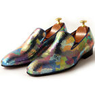 Casual Men GENUINE Leather Colorful trimmed Business Dress SLIP-ON Loafer Shoes
