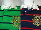 NWT Ralph Lauren RUGBY POLO SHIRT Top BIG PONY Mallet Crest Navy Green Striped