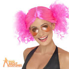 80s Pink Bunches Wig Ladies Fancy Dress Costume Skater Girl Accessory