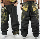 Mens Jeans Denim Crown Holder Embroidery Baggy Loose HipHop Streetwear 30-46