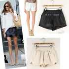 Celebrity Style Loose-fit High-waisted Black/ IVORY Faux Leather Shorts pants