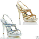 NEW WOMENS LADIES DIAMANTE HEEL WEDDING EVENING PROM  PARTY SANDALS SHOES SIZE