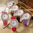 1pc Womens Ladies Leather Crystal Round Dial Rosy Gold Case Quartz Analog Watch